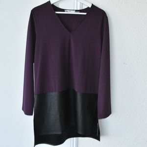 NWT Natori faux leather and purple top size small